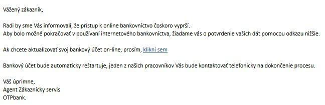 Falošný email OTP banka
