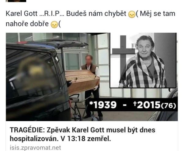 Karel Gott zemřel