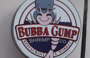 Bubba Gump logo reštaurácie ponúkajúcej krevety