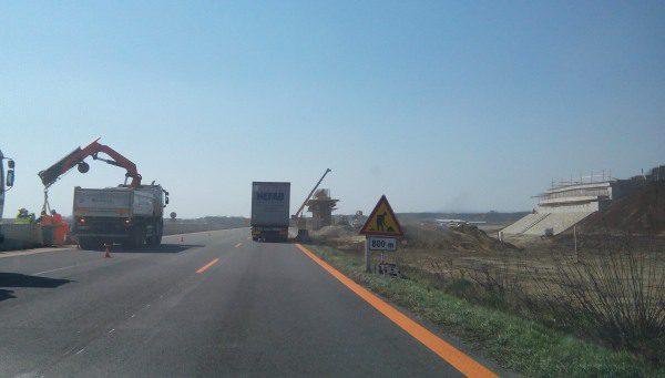 Diaľnica D1 križovatka Blatné, uzávierka pruhov
