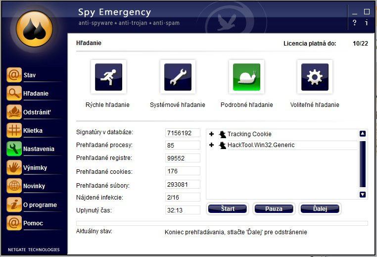 Spy Emergency antivirus hodnotenie