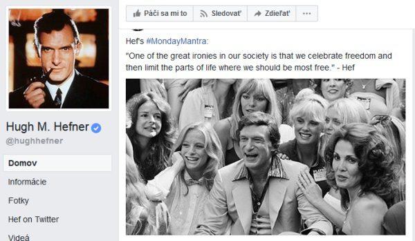 Hugh Hefner, oficial Facebook