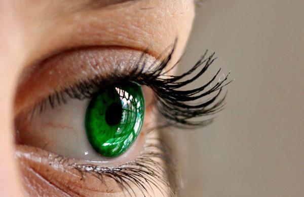 Zelené oko v článku očný tik