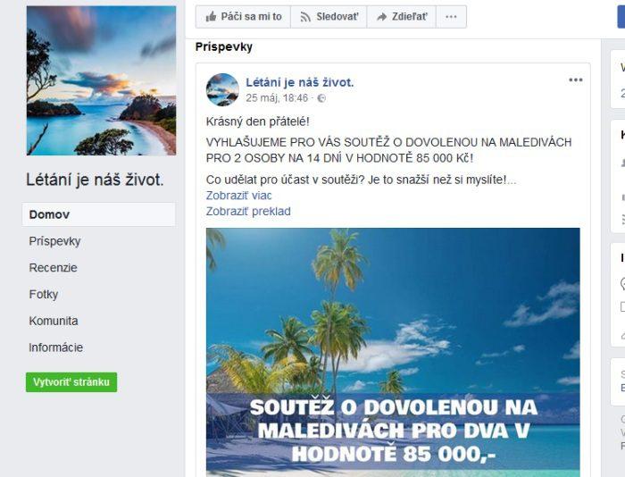 Dovolenka falošné súťaže na Facebooku