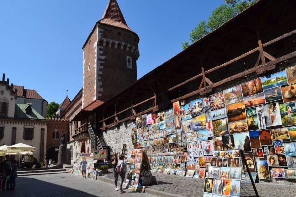Krakow, Krakov a hradby s obrazmi