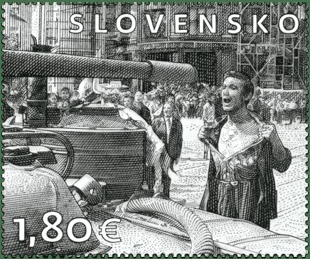 Slovensko 1,80 EUR poštová známka pofis, Muž s odhalenou hruďou August 1968