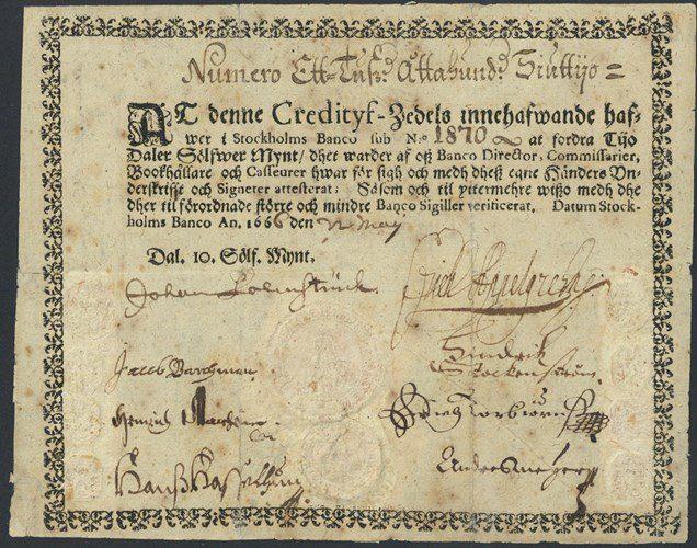 Bankovka, prvá bankovka v Európe, Švédsko 1666