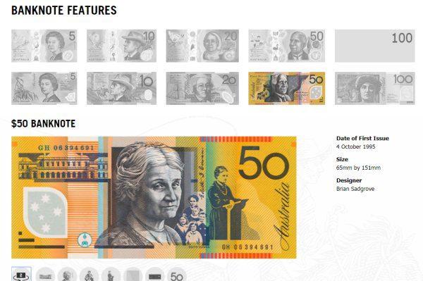 Austrálska bankovka 50 dolárov, ktorej návrh sa používa od roku 1995