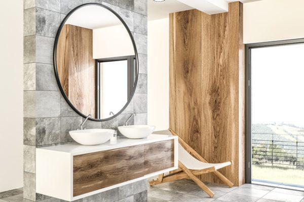 masívne drevo v zariadení kúpeľne