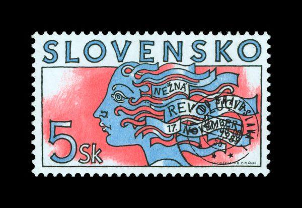 nežná revolúcia na poštovej známke