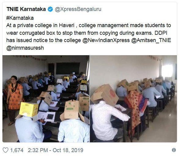 Tweet škola v Indii a krabice na hlave, zdroj tweet