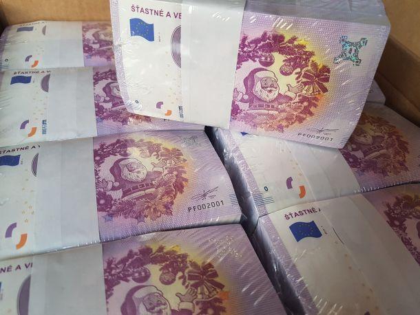0 eur vianočná bankovka šťastné a veselé