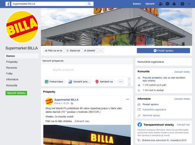 Falošná stránka BILLA