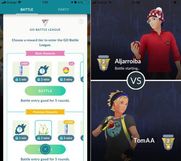 Pokémon Go Battle proti protivníkom