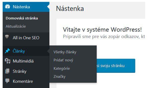 Wordpress pridať nový článok