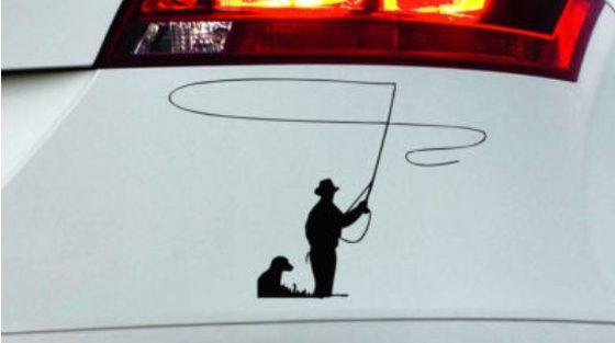 Autonálepka, rybár so psom