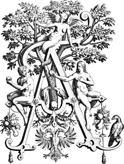 Satan a scéna z Biblie, záhrady Edenu
