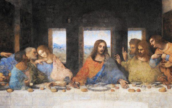 Posledná večera, Ježiš a Apoštoli + žena Leonardo da Vinci
