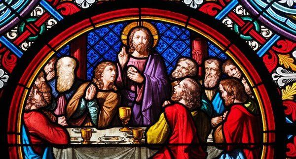 Posledná večera, Ježiš a Apoštoli + žena vitráž