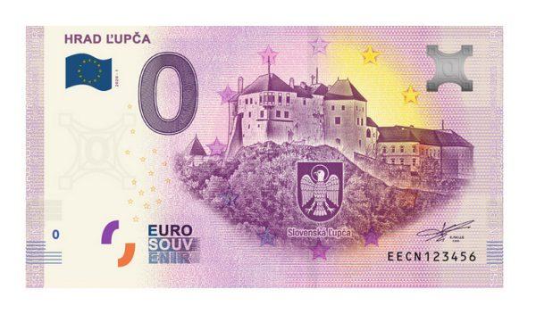 Hrad Ľupča na 0 eurovej bankovke