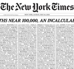 New York Times 24. máj 2020 a 100 000 obetí koronavírusu