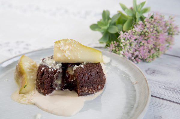 čokoládové suflé s kozím syrom