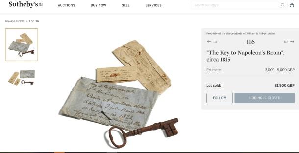 Sotheby a kľúč od izby, kde zomrel Napoelon