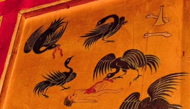 Tibetské vyobrazenie nebeského pohrebného obradu