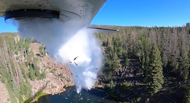 Utah a zarybňovanie pstruhmi z lietadla